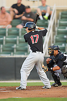 Evan Van Hoosier (17) of the Hickory Crawdads at bat against the Kannapolis Intimidators at CMC-Northeast Stadium on May 5, 2014 in Kannapolis, North Carolina.  The Intimidators defeated the Crawdads 5-2.  (Brian Westerholt/Four Seam Images)