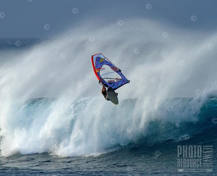 Extreme windsurfing at Ho'okipa, Maui, Hawaii.