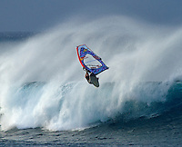 Extreme windsurfing at Ho'okipa, Maui, Hawaii.