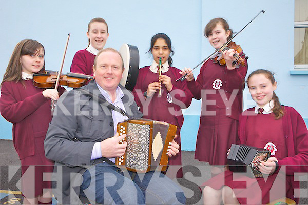 OUTREACH: Participants in the Comhaltas Schools Outreach programme at the Presentation Convent School in Abbeyfeale with tutor Willie Larkin (centre), l-r: Chloe Smith, Hannah McAuley, Kianat Shafiq, Maura O'Connor, Anna O'Connell..