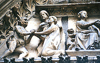 Paris: Notre Dame--Tympanum. Cloister Portal. Photo '90.