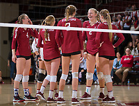 STANFORD, CA - November 3, 2018: Kathryn Plummer, Holly Campbell, Jenna Gray, Meghan McClure, Morgan Hentz at Maples Pavilion. No. 1 Stanford Cardinal defeated No. 15 Colorado Buffaloes 3-2.