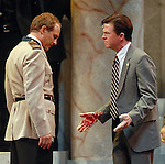 Philip Lehl as Mark Anthony and Joel Sandel as Brutus during a final dress rehearsal for Caesar at Mill Theatre in Hermann Park Wednesday July 30,2008. (Dave Rossman/For the Chronicle)