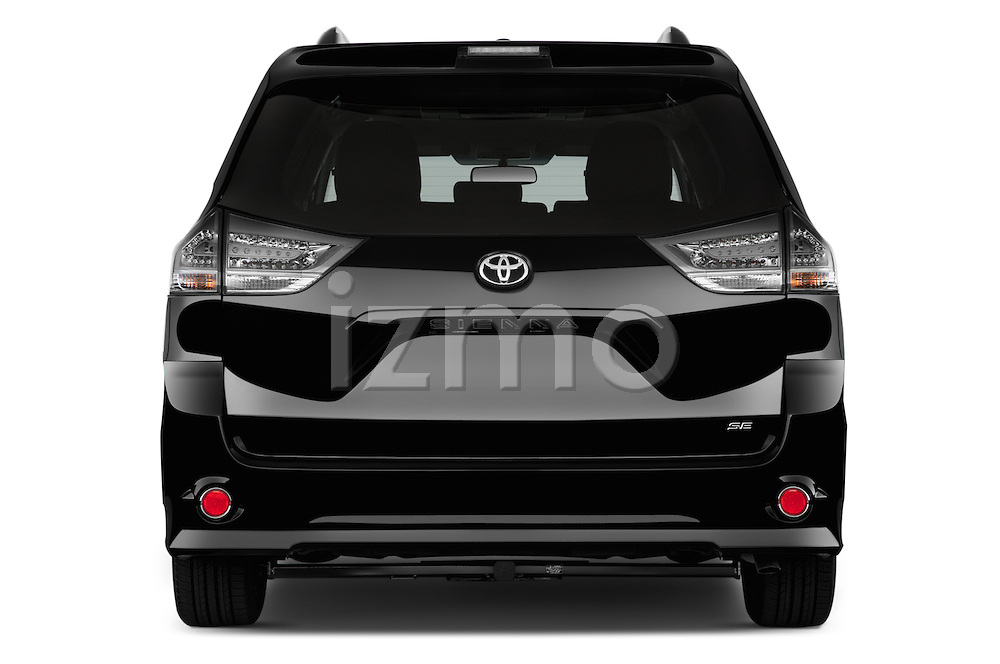 Straight rear view of 2017 Toyota Sienna SE 5 Door Minivan Rear View  stock images