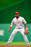 6 June 2010: Cincinnati Reds' second baseman Brandon Phillips in action against the Washington Nationals at Nationals Park in Washington, DC. The Reds edged out the Nationals 5-4 in a ten inning game. Mandatory Credit: Ed Wolfstein Photo