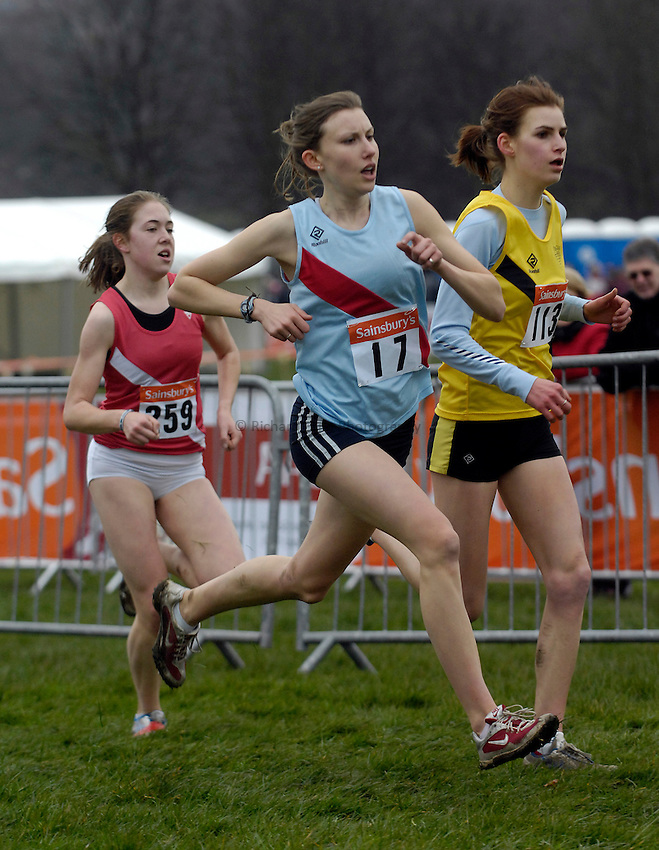 Photo: Jed Wee/Richard Lane Photography..Sainsbury's English Schools Cross Country. 24/03/2007...Senior girls bronze medalist Natasha Peters (C) comes through on the outside in the home straight.