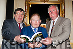 Fianna Fail legends Brian Cowan and John O'Donoghue with John O'Leary at the launch of his autobiography On the Doorsteps in the INEC on Friday night