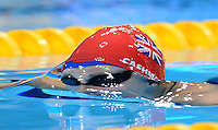 PICTURE BY ALEX BROADWAY /SWPIX.COM - 2012 London Paralympic Games - Day Three - Swimming - Aquatics Centre, Olympic Park, London, England - 01/09/12 - Claire Cashmore of Great Britain competes in the Women's 100m Breaststroke SB8 Final.