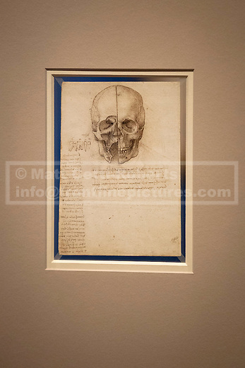 30/04/2012. LONDON, UK. Leonardo da Vinci's 'A skull sectioned' from 1489 is seen at the Royal Gallery in London today (30/03/12). Featuring 87 pages of sketches from the artist's notebooks the exhibition, entitled 'Leonardo da Vinci: Anatomist', is the largest ever of his anatomical work and opens at The Queen's Gallery in London on Friday the 4th of May. Photo credit: Matt Cetti-Roberts