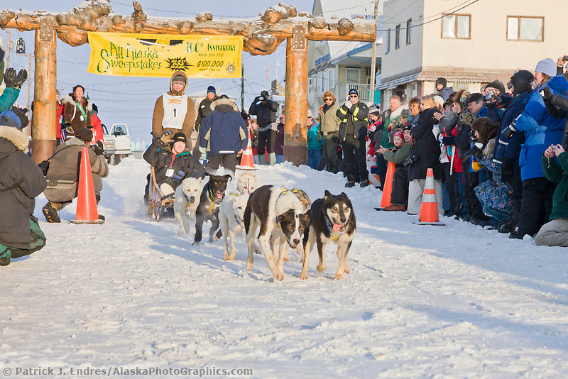 Honorary start for musher Peter MacManus at the 2008 All Alaska Sweepstakes 100 year commemorative sled dog race.