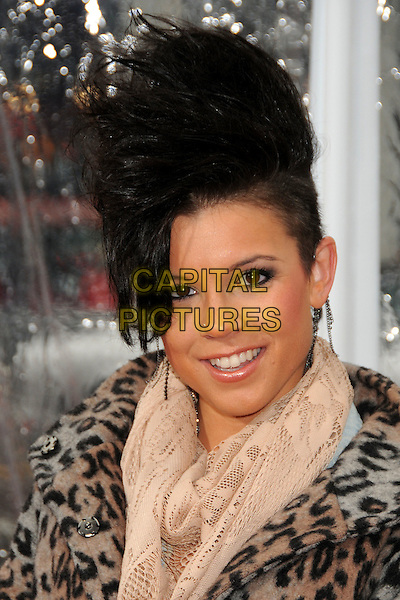 "ALINA MANOU .""Gulliver's Travels"" Los Angeles Premiere held at Grauman's Chinese Theatre, Hollywood, California, USA, 18th December 2010..portrait headshot  leopard print animal  hair smiling shaved head beige scarf .CAP/ADM/BP.©Byron Purvis/AdMedia/Capital Pictures."