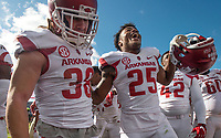 Hawgs Illustrated/BEN GOFF <br /> Reid Miller (38), Arkansas special teams, and Micahh Smith (25), Arkansas defensive back, join in the celebration after Arkansas defeated Ole Miss Saturday, Oct. 28, 2017, at Vaught-Hemingway Stadium in Oxford, Miss.
