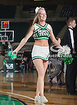 North Texas Mean Green cheerleaders in action during the game between the Denver Pioneer Women and the University of North Texas Mean Green at the North Texas Coliseum,the Super Pit, in Denton, Texas. Denver defeats UNT 50 to 44...
