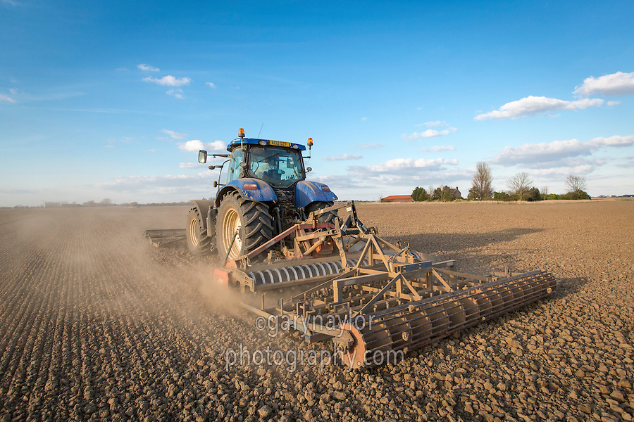 Using front and rear mounted cultivators to prepare spring wheat seed bed - South Lincolnshire, March