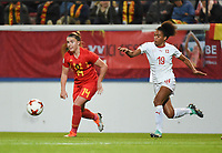 20181005 - LEUVEN , BELGIUM : Belgian Davinia Vanmechelen (L) and Switzerland's Eseoa Aigbogun (R)  pictured during the female soccer game between the Belgian Red Flames and Switzerland , the first leg in the semi finals play offs for qualification for the World Championship in France 2019, Friday 5 th october 2018 at OHL Stadion Den Dreef in Leuven , Belgium. PHOTO SPORTPIX.BE   DIRK VUYLSTEKE