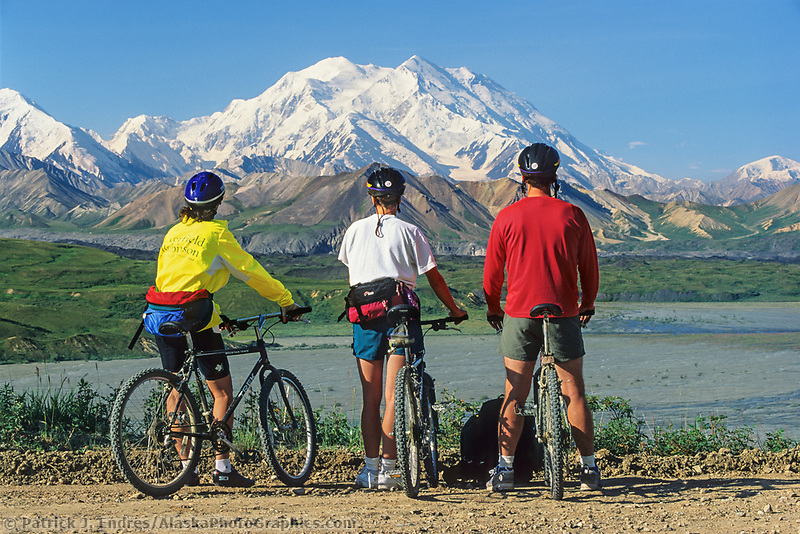Mountain biking along the Denali Park Road provides amazing views of North American's largest peak, Mt Denali. The 90 mile gravel road traverses spectacular vistas of Alaska's most popular National Park.