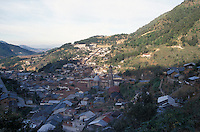 Aerial view of the old mining town of Angangueo, Michoacan, Mexico. Angangueo is the starting point for visits to the El Rosario and Sierra Chincua monarch butterfly sanctuaries.