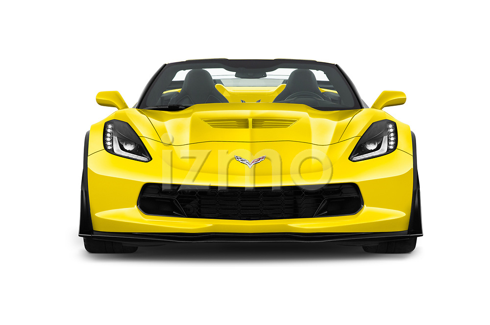 Car photography straight front view of a 2017 Chevrolet Corvette Z06-3LZ 2 Door Convertible Front View