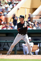 Miami Marlins infielder Reid Brignac (12) during a Spring Training game against the Detroit Tigers on March 25, 2015 at Joker Marchant Stadium in Lakeland, Florida.  Detroit defeated Miami 8-4.  (Mike Janes/Four Seam Images)