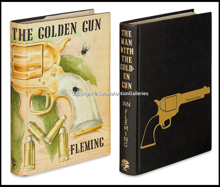 BNPS.co.uk (01202)558833<br /> Pic:  SwannAuctionGalleries/BNPS<br /> <br /> A rare first edition of The Man with the Golden Gun (1965) with the golden gun on the cover is tipped to sell for £7,000 ($9,000).<br /> <br /> A single owner collection of historic James Bond first editions inscribed by Ian Fleming have emerged for sale for £55,000. ($70,000)<br /> <br /> The marquee lot is a first edition of Goldfinger (1959) given by the author to legendary golfer Sir Henry Cotton, who won The Open three times.<br /> <br /> Fleming references the chapters containing the classic golf match between Bond and the villain Auric Goldfinger, whose caddy was Oddjob, in the book.<br /> <br /> The collection of 13 books is being sold by a private collector with US based Swann Auction Galleries.
