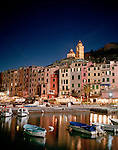 Portovenere at dusk, Liguria, Italy, Europe