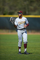 Central Michigan Chippewas right fielder Daniel Robinson (19) warms up in between innings during a game against the Boston College Eagles on March 3, 2017 at North Charlotte Regional Park in Port Charlotte, Florida.  Boston College defeated Central Michigan 5-4.  (Mike Janes/Four Seam Images)