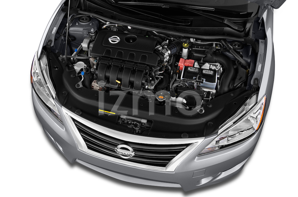 High angle engine detail of a  .2013 Nissan Sentra SR