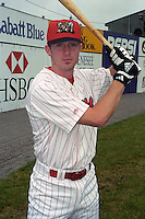 Batavia Muckdogs Chase Utley (8) poses for photos shortly after arriving in Batavia  for his first professional game at Dwyer Stadium in Batavia, New York during the 2000 season.  Photo By Mike Janes/Four Seam Images