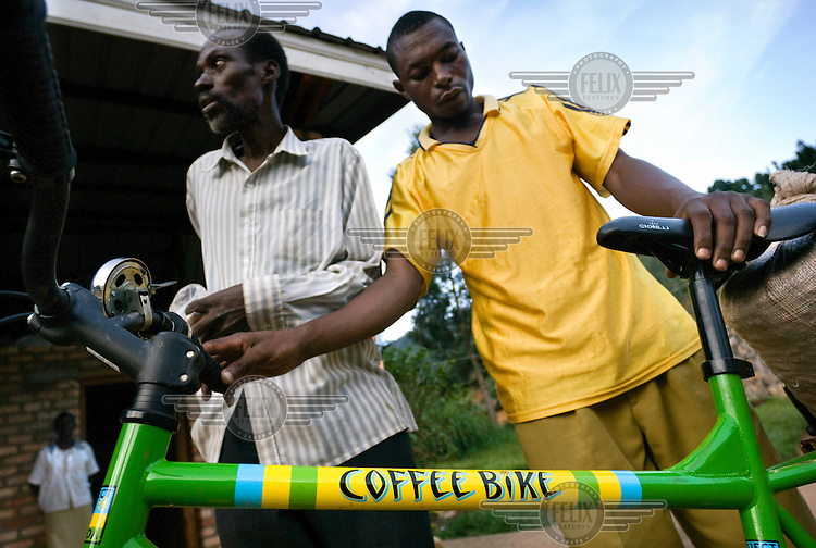 Coffee farmers use specially designed and modified mountain bikes to transport freshly picked coffee from their farms to the nearest washing station. The faster the coffee is processed the better it tastes. Investment and the use of modern technologies have improved the quality and value of Rwandan coffee, which is now rated as one of the best in the world.