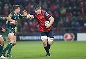 9th December 2017, Thomond Park, Limerick, Ireland; European Rugby Champions Cup, Munster versus Leicester Tigers; Peter O'Mahony (c)  Munster on a charge