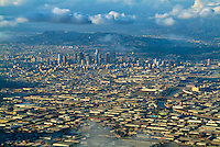 Los Angeles, CA Beautiful Cityscape, Aerial View,  Commercial Airplane, Clouds, Sky, near Landing,
