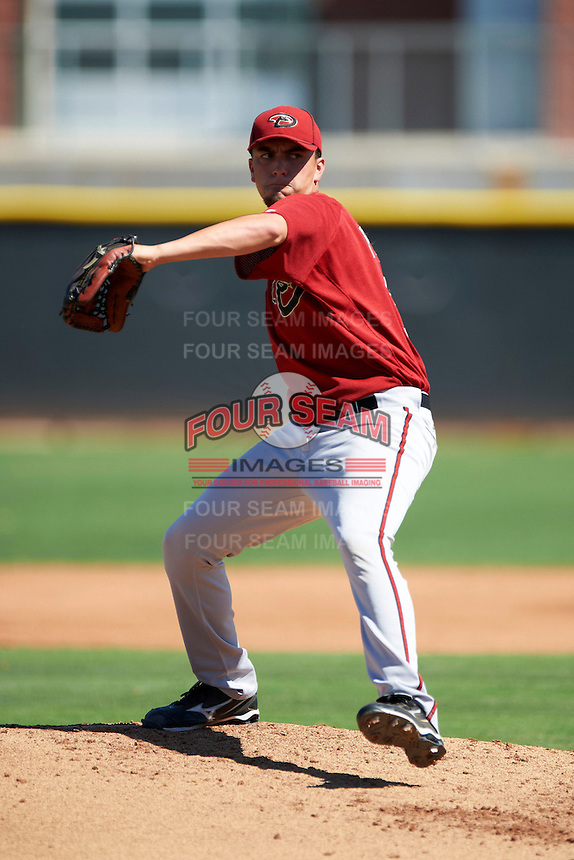 Arizona Diamondbacks minor league pitcher Felipe Perez #33 during an instructional league game against the Los Angeles Angels at the Tempe Diablo Minor League Complex on October 1, 2012 in Tempe, Arizona.  (Mike Janes/Four Seam Images)