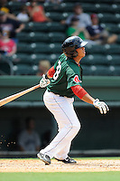 Third baseman Aneudis Peralta (28) of the Greenville Drive bats in a game against the Asheville Tourists on Sunday, July 20, 2014, at Fluor Field at the West End in Greenville, South Carolina. Asheville won game one of a doubleheader, 3-1. (Tom Priddy/Four Seam Images)
