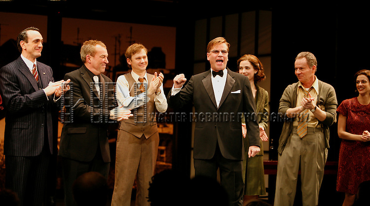 Hank Azaria, Jimmi Simpson with Des McAnuff (Director), Aaron Sorkin (Playwright) and the Ensemble cast.during r the Opening Night Performance Curtain Call for  THE FARNSWORTH INVENTION at the Music Box Theatre in New York City..December 3, 2007.© Walter McBride /