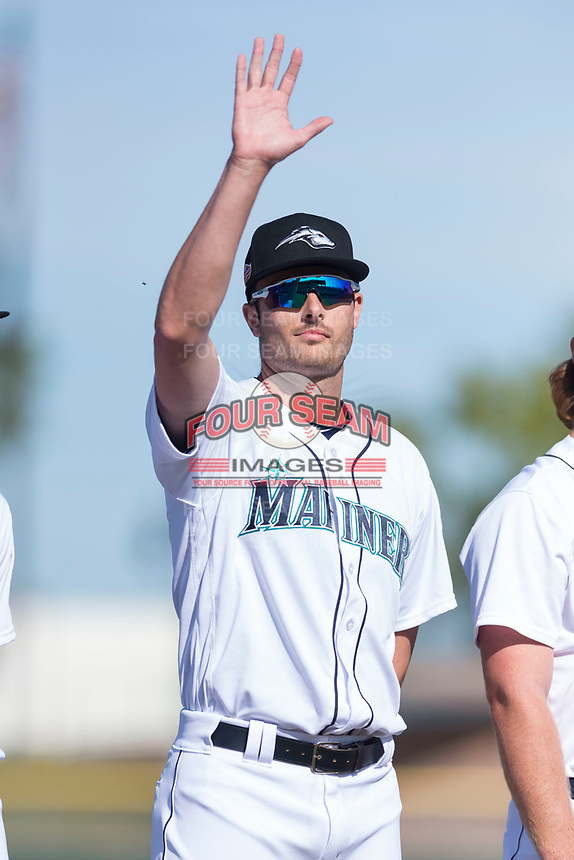 Peoria Javelinas pitcher Wyatt Mills (25), of the Seattle Mariners organization, during player introductions before the Arizona Fall League Championship game against the Salt River Rafters at Scottsdale Stadium on November 17, 2018 in Scottsdale, Arizona. Peoria defeated Salt River 3-2 in 10 innings. (Zachary Lucy/Four Seam Images)