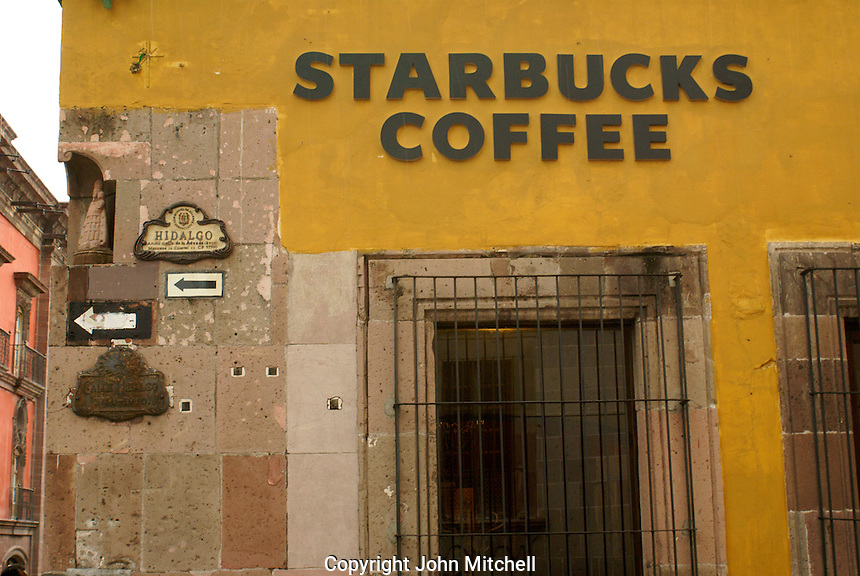 Starbucks Coffee shop in San Miguel de Allende, Mexico. San Miguel de Allende is a UNESCO World Heritage Site....
