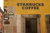 Starbucks Coffee shop in San Miguel de Allende, Mexico. San Miguel de Allende is a UNESCO World Heritage Site....
