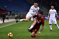 Davide Calabria of AC Milan and Aleksandar Kolarov of AS Roma compete for the ball during the Serie A 2018/2019 football match between AS Roma and AC Milan at stadio Olimpico, Roma, February 3, 2019 <br />  Foto Andrea Staccioli / Insidefoto