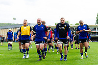 Bath Rugby players leave the field after the pre-match warm-up. Gallagher Premiership match, between Bath Rugby and Wasps on May 5, 2019 at the Recreation Ground in Bath, England. Photo by: Patrick Khachfe / Onside Images