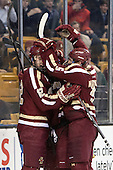 Kevin Hayes (BC - 12), Bill Arnold (BC - 24), Michael Matheson (BC - 5) - The Boston College Eagles defeated the Boston University Terriers 3-1 (EN) in their opening round game of the 2014 Beanpot on Monday, February 3, 2014, at TD Garden in Boston, Massachusetts.