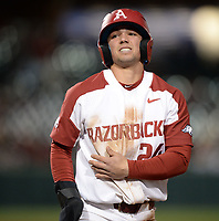 NWA Democrat-Gazette/ANDY SHUPE<br /> Arkansas Missouri Friday, March 15, 2019, during the inning at Baum-Walker Stadium in Fayetteville. Visit nwadg.com/photos to see more photographs from the game.