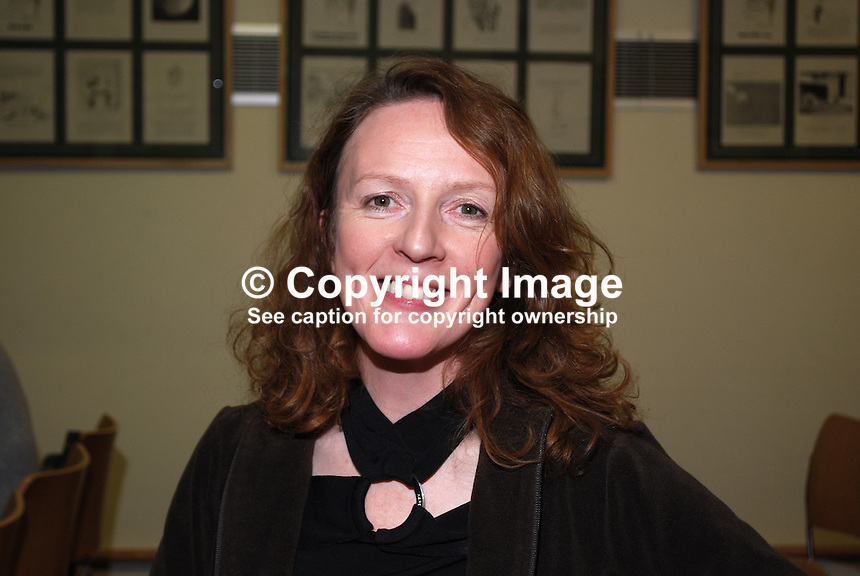 Michele Forbes, Dublin, who today (26 Nov 2010) won the Belfast Linen Hall Library's Michael McLaverty Short Story Award. The prize, UK£2000 was for her story, Scandal, a beautiful reminisence of a childhood friendship. 201011264530..Copyright Image from Victor Patterson, 54 Dorchester Park, Belfast, UK, BT9 6RJ..Tel: +44 28 9066 1296.Mob: +44 7802 353836.Voicemail +44 20 8816 7153.Skype: victorpattersonbelfast.Email: victorpatterson@me.com.Email: victorpatterson@ireland.com (back-up)..IMPORTANT: If you wish to use this image or any other of my images please go to www.victorpatterson.com and click on the Terms & Conditions. Then contact me by email or phone with the reference number(s) of the image(s) concerned.