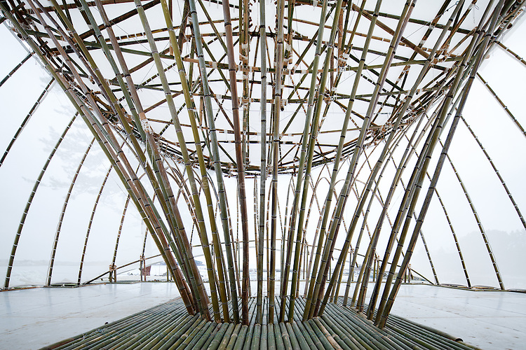 "Kesennuma, December 6 2011 - ""Ark of bamboo"" (take no kaisho) by Toki lab. (University o Shiga), a structure made of bamboos for people to gather in the devasted area."