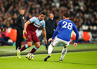 28th December 2019; London Stadium, London, England; English Premier League Football, West Ham United versus Leicester City; Pablo Fornals of West Ham United covered by Daniel Amartey of Leicester City - Strictly Editorial Use Only. No use with unauthorized audio, video, data, fixture lists, club/league logos or 'live' services. Online in-match use limited to 120 images, no video emulation. No use in betting, games or single club/league/player publications