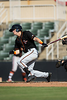 Tanner Kirk (17) of the Delmarva Shorebirds follows through on his swing against the Kannapolis Intimidators at Kannapolis Intimidators Stadium on July 2, 2017 in Kannapolis, North Carolina.  The Shorebirds defeated the Intimidators 5-4.  (Brian Westerholt/Four Seam Images)
