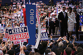 Boston, Mass..USA.July 27, 2004..Thee National Democratic Convention in Boston. Barack Obama, State Senator from Illinois, U.S. Senate.Candidate addresses the crowd.