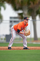Baltimore Orioles Steve Laurino (31) during a minor league Spring Training intrasquad game on April 2, 2016 at Buck O'Neil Complex in Sarasota, Florida.  (Mike Janes/Four Seam Images)