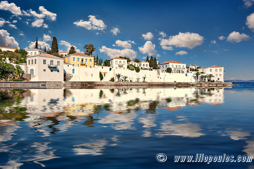 Traditional houses at the famous Agios Nikolaos in Spetses island, Greece