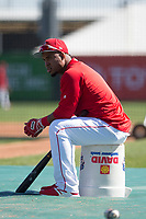 Los Angeles Angels infielder Luis Valbuena (18) during Spring Training Camp on February 22, 2018 at Tempe Diablo Stadium in Tempe, Arizona. (Zachary Lucy/Four Seam Images)