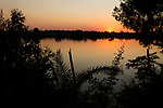 River at sunset. Kafue River, Kafue National Park, Zambia